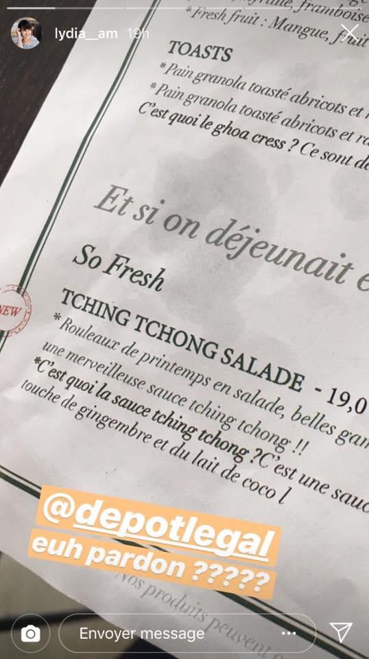 """La carte du plat """"Tching tchong"""""""