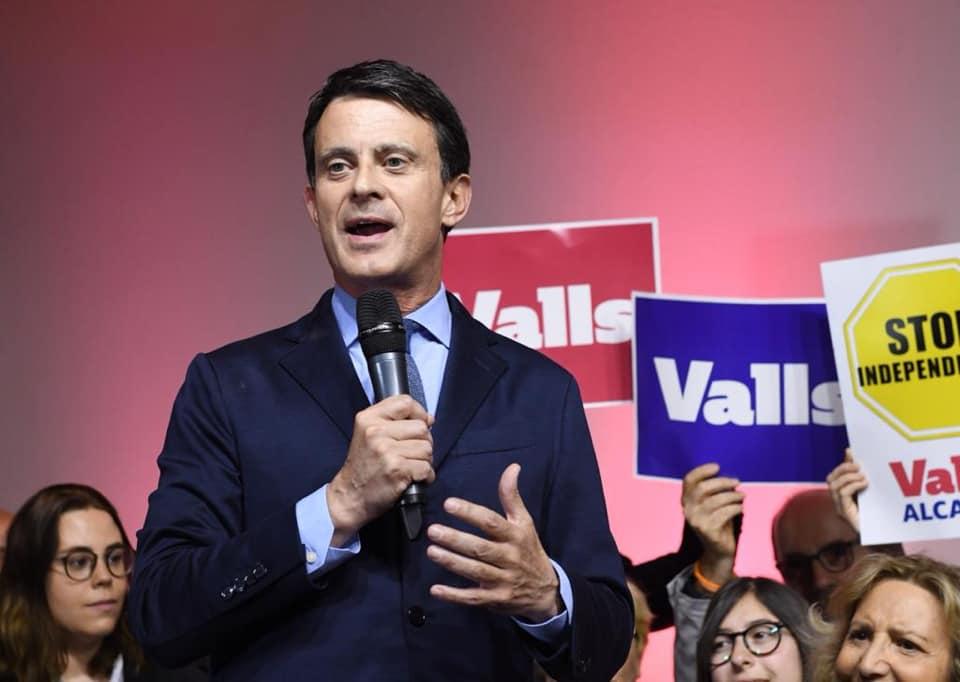 Manuel Valls s'exprimant en Catalogne en mars 2019