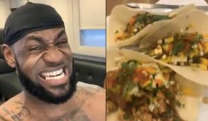 LeBron James grimaçant à côté d'un plat de Taco mexicain