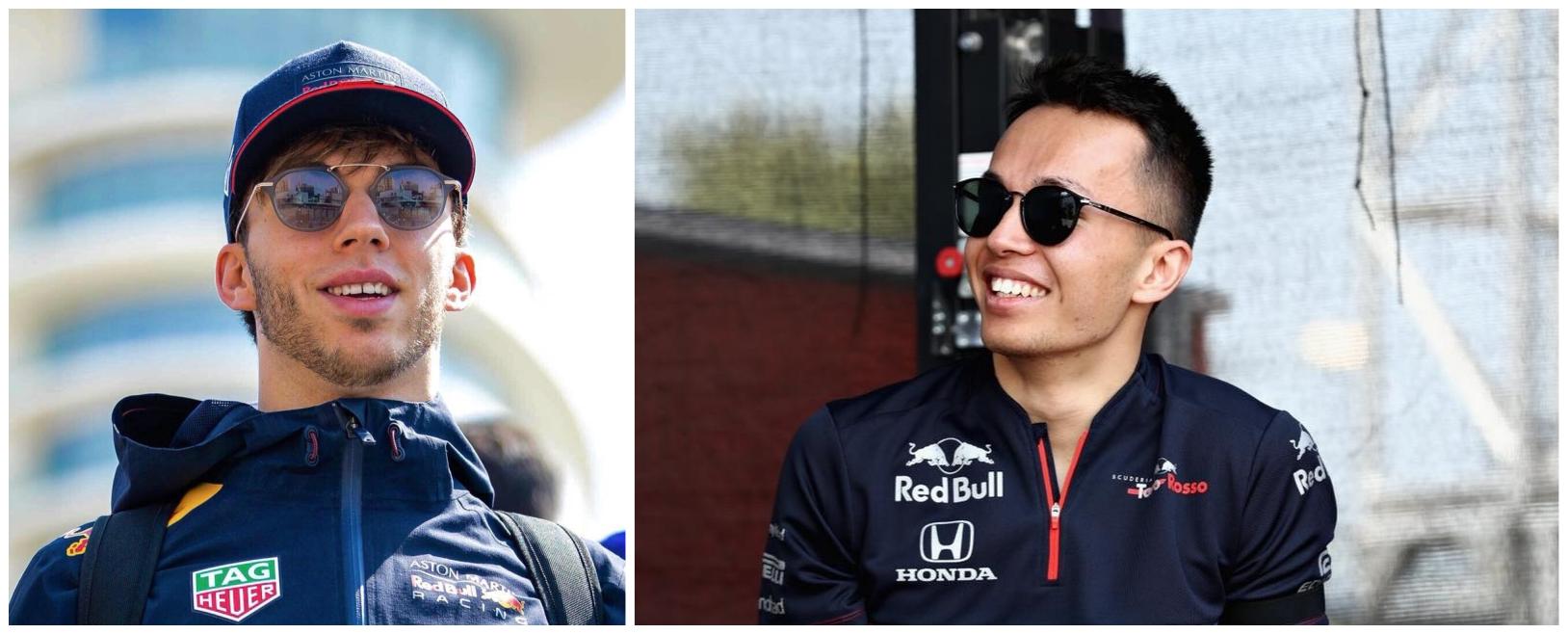 Photomontage montrant Pierre Gasly ( à gauche) et Alexander Albon (à droite), pilotes de Red Bull
