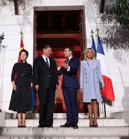 Brigitte et Emmanuel Macron recevant XI Jinping et son épouse à Nice en mars 2019