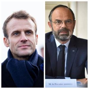 Photomontage : le president Emmanuel Macron à gauche et le premier ministre Edouard Philippe à droite.